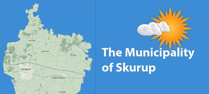 Map showing the Municipality of Skurup and a sun